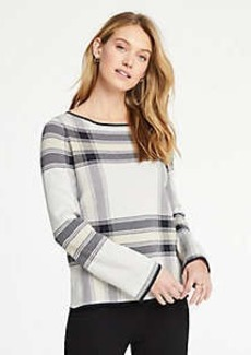 Ann Taylor Plaid Jacquard Bell Sleeve Sweater
