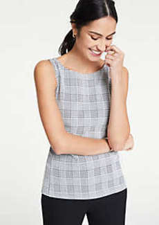 Ann Taylor Plaid Knit Shell