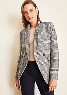 Ann Taylor Plaid Long Double Breasted Blazer