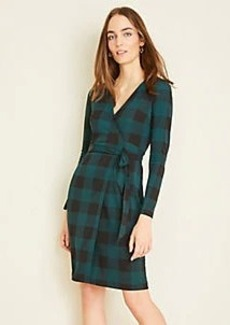Ann Taylor Plaid Matte Jersey Wrap Dress