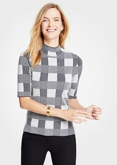 Ann Taylor Plaid Mock Neck Elbow Sleeve Sweater