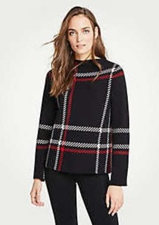 Ann Taylor Plaid Mock Neck Sweater