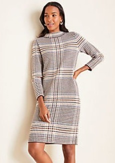 Ann Taylor Plaid Mock Neck Sweater Shift Dress