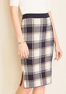 Ann Taylor Plaid Pencil Sweater Skirt