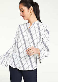 Ann Taylor Plaid Pleated Cuff Blouse