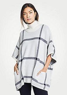 Ann Taylor Plaid Poncho Sweater