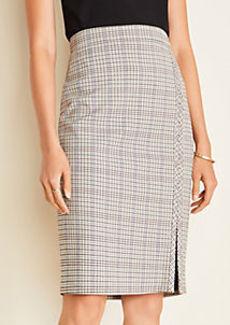 Ann Taylor Plaid Seamed Pencil Skirt