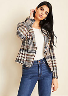 Ann Taylor Plaid Shawl Collar Jacket