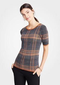 Ann Taylor Plaid Short Sleeve Sweater