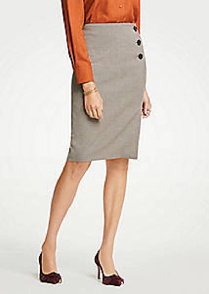 Ann Taylor Plaid Side Button Pencil Skirt