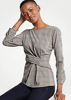Ann Taylor Plaid Side Twist Blouse