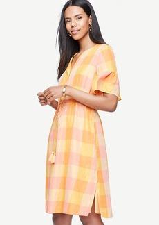 Plaid Split Neck Drawstring Dress