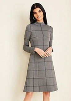 Ann Taylor Plaid Tie Back Flare Dress
