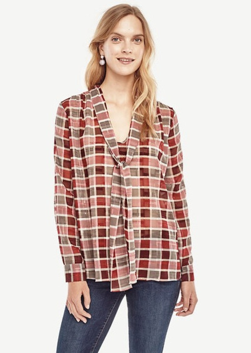 Ann Taylor Plaid Tie Neck Blouse