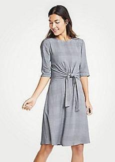 Ann Taylor Plaid Tie Waist Flare Dress