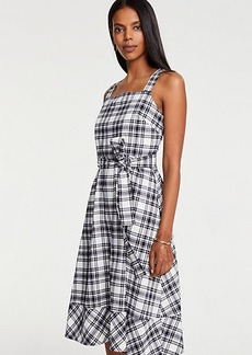 Ann Taylor Plaid Tie Waist Midi Dress