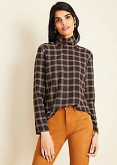 Ann Taylor Plaid Turtleneck Top