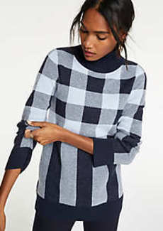 Ann Taylor Plaid Turtleneck Tunic Sweater