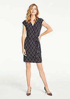 Ann Taylor Plaid Wrap Dress