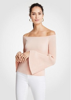 Ann Taylor Pleat Flare Sleeve Off The Shoulder Sweater