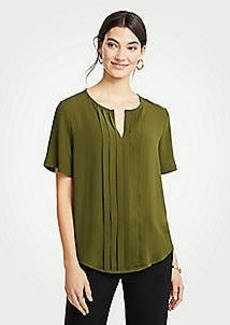 Ann Taylor Pleat Front Keyhole Tee