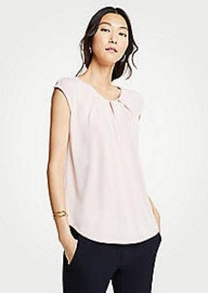 Ann Taylor Pleat Neck Cap Sleeve Top