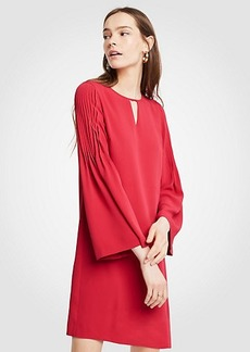 Pleat Sleeve Keyhole Shift Dress