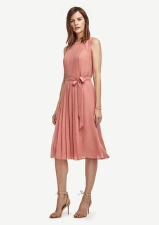 Ann Taylor Pleated Belted Midi Dress