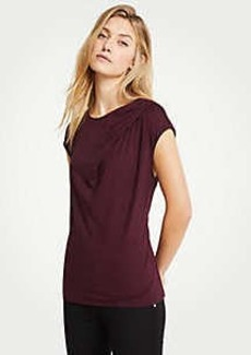 Ann Taylor Pleated Cap Sleeve Top