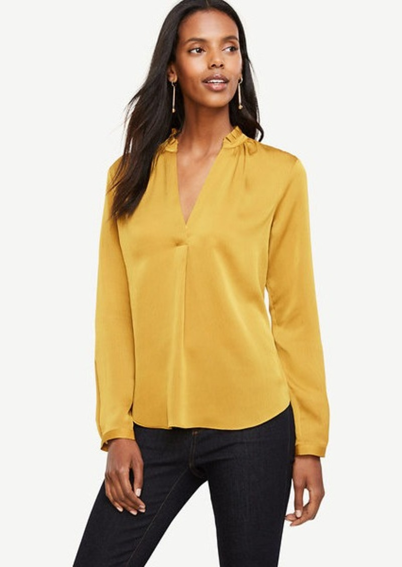 Ann Taylor Pleated Collar Blouse