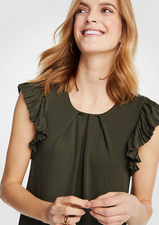 Ann Taylor Pleated Flutter Sleeve Top