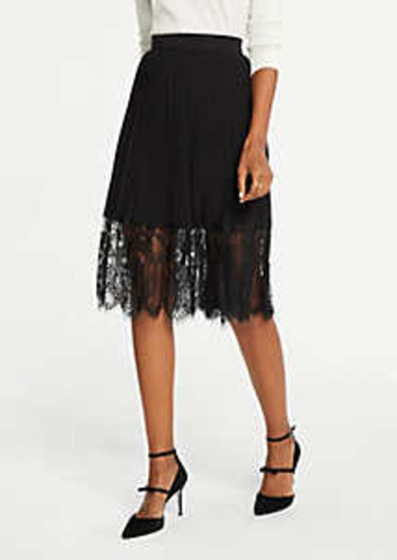 Ann Taylor Pleated Lace Hem Skirt