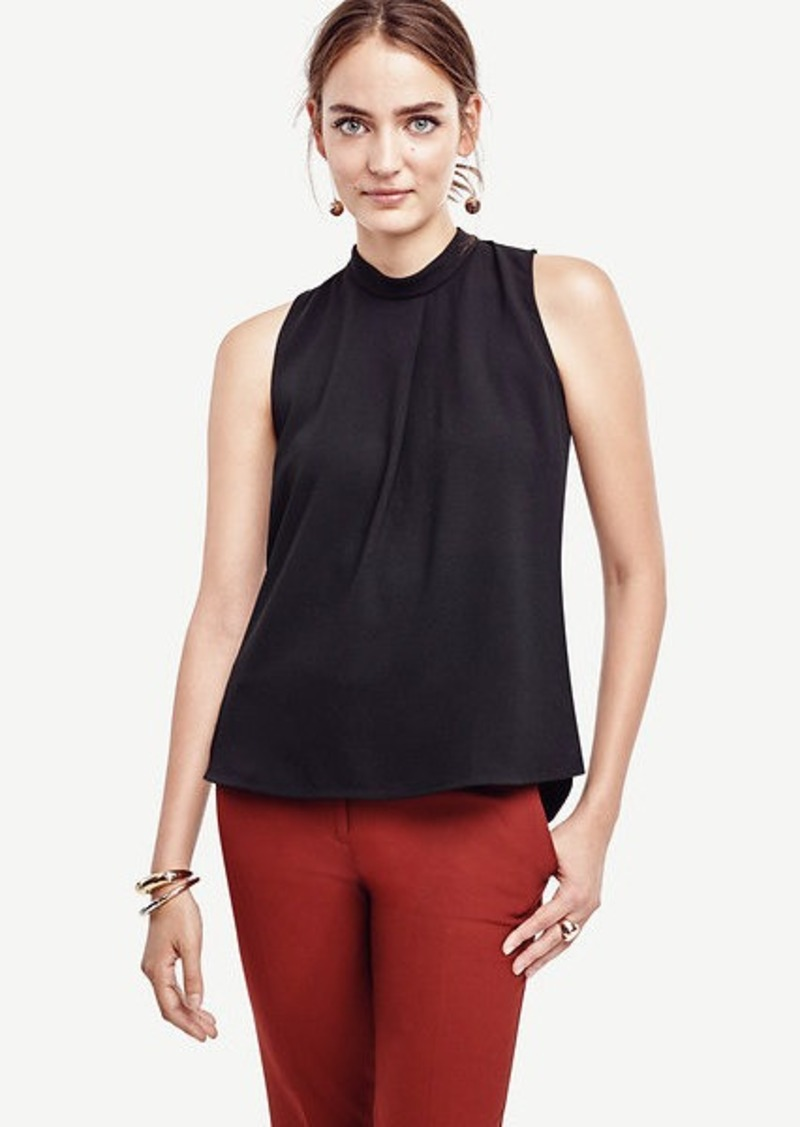 Ann Taylor Pleated Mock Neck Shell