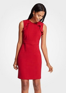 Ann Taylor Pleated Ruffle Sheath Dress