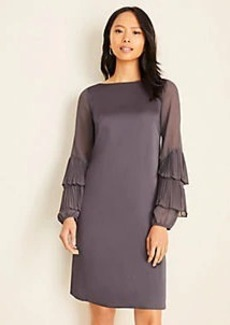 Ann Taylor Pleated Ruffle Sleeve Dress