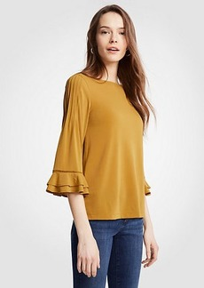 Ann Taylor Pleated Ruffle Sleeve Top