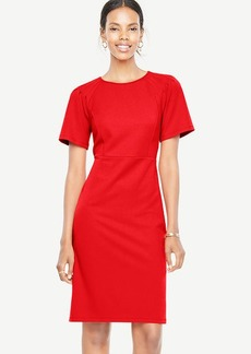 Pleated Shoulder Knit Sheath Dress
