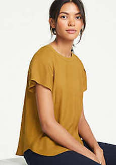 Ann Taylor Pleated Shoulder Tee
