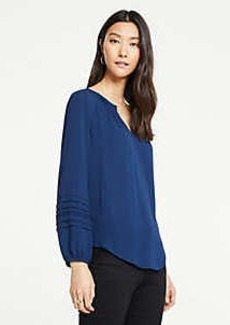 Ann Taylor Pleated Sleeve Mixed Media Top