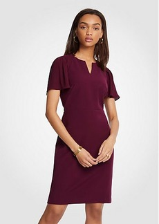 Pleated Sleeve Sheath Dress