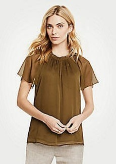 Ann Taylor Pleated Split Neck Top