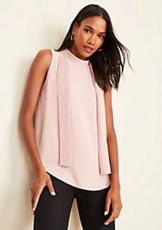 Ann Taylor Pleated Tie Mock Neck Shell