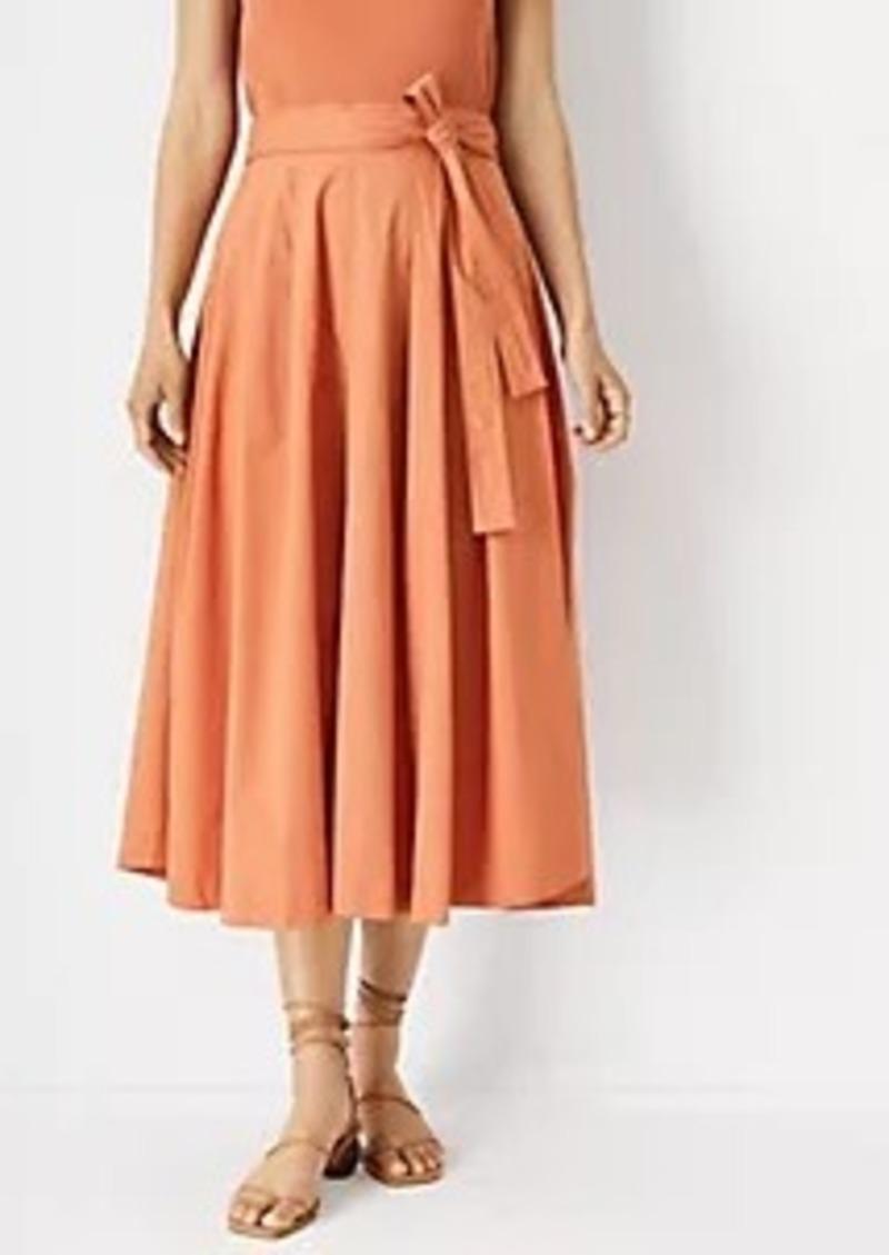 Ann Taylor Pleated Tie Waist Skirt