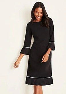 Ann Taylor Pleated Trim Flare Sweater Dress