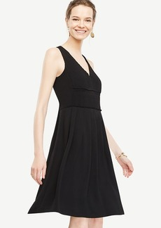 Pleated V-Neck Flare Dress