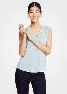 Ann Taylor Pleated V-Neck Shell