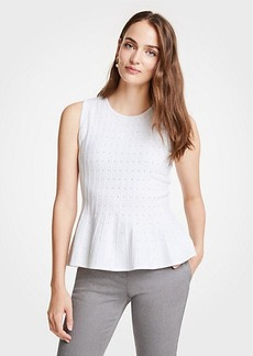 Ann Taylor Pointelle Peplum Sweater Shell