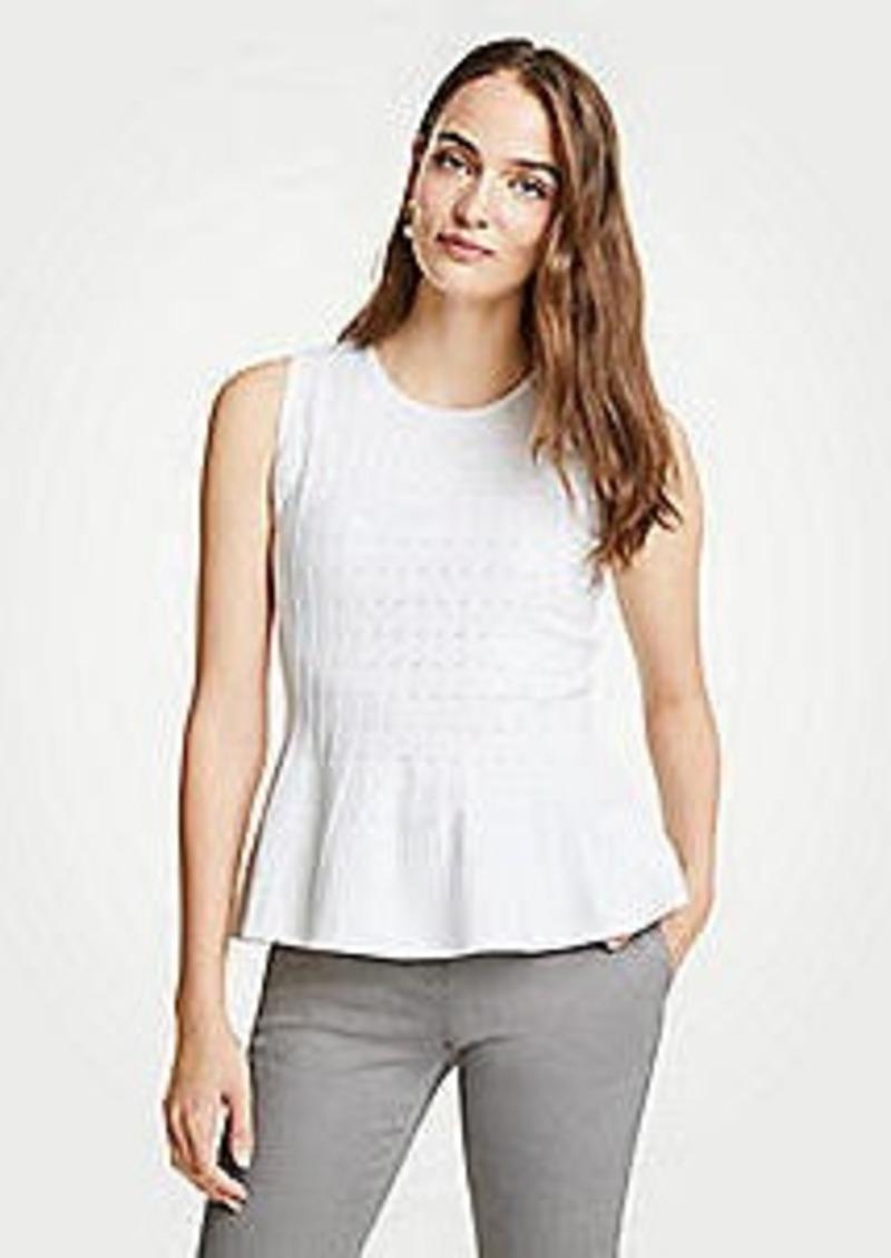 Ann Taylor Pointelle Peplum Sweater Shell