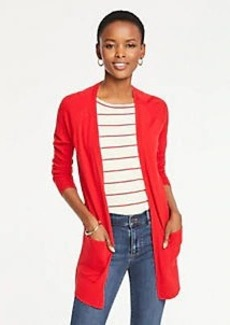 Ann Taylor Pointelle Pocket Open Cardigan