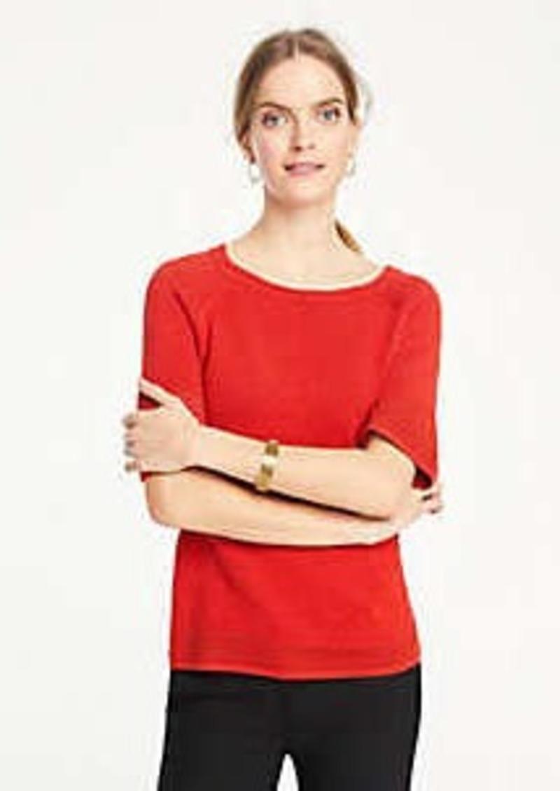 Ann Taylor Pointelle Stitch Short Sleeve Sweater Tee
